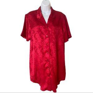 Fleurs de nuit 🌹 red button down nightgown
